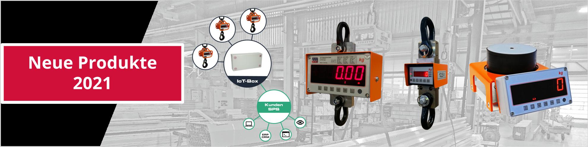 Neue Produkte 2021 von EHP: IoT-Box, EWO Dreibereichswaage, CS Zugkraftaufnehmer und mobile Waage MWS